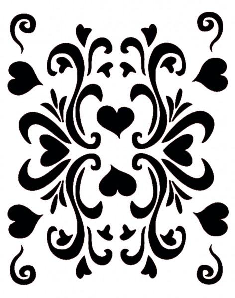 Facepainting Schablone Retro Hearts