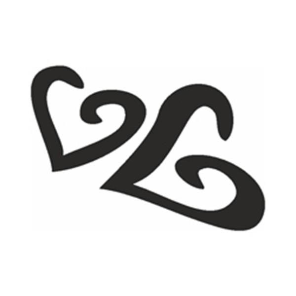 Selbstklebe Schablone - Zwei Herzen