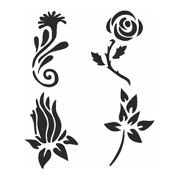 Selbstklebe-Schablonen Set Flowers