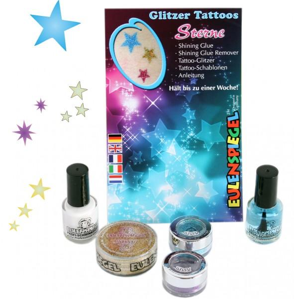 Glitzer Tattoo-Set Sterne