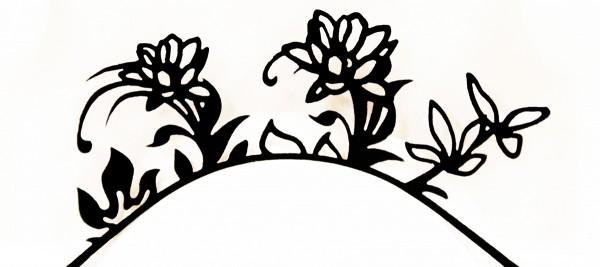 Papier-Wimpern, Flower Power - schwarz