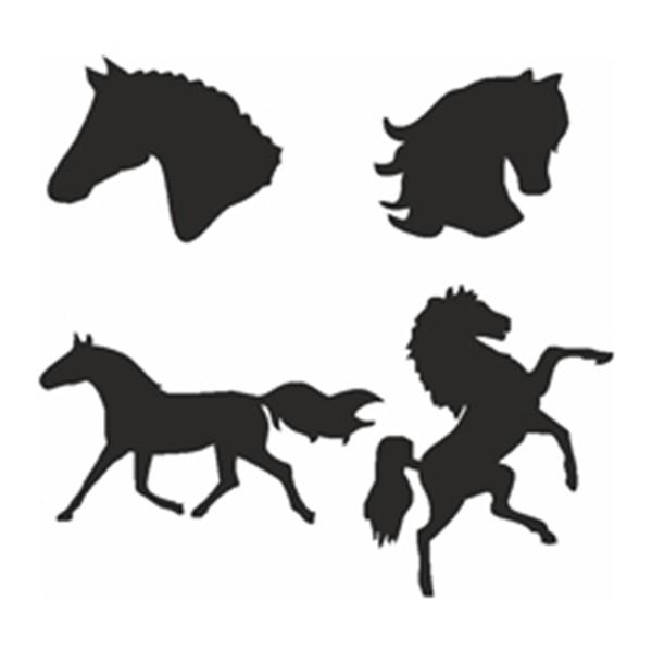 Selbstklebe Schablonen Set Pferde