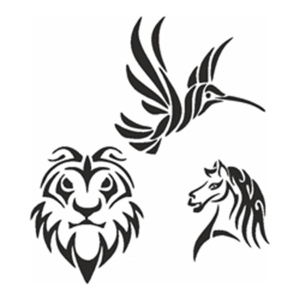 Selbstklebe-Schablonen Set Tribal Animals