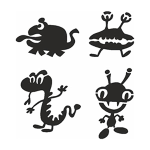 Selbstklebe-Schablonen Set Aliens