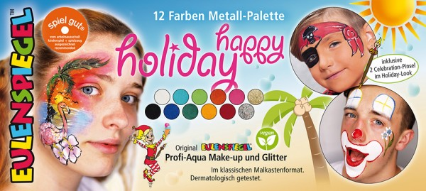 10 Farben 2 Glitzer Metall-Palette Happy Holiday