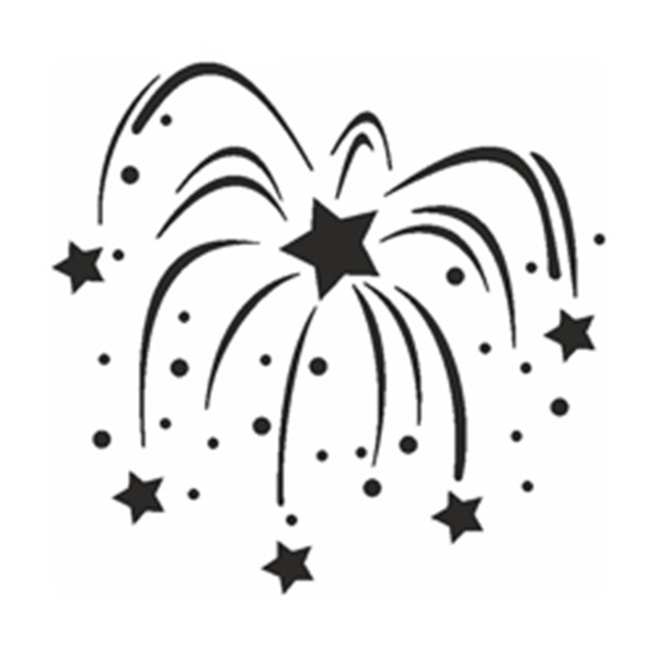 Selbstklebe Schablone - Feuerwerk
