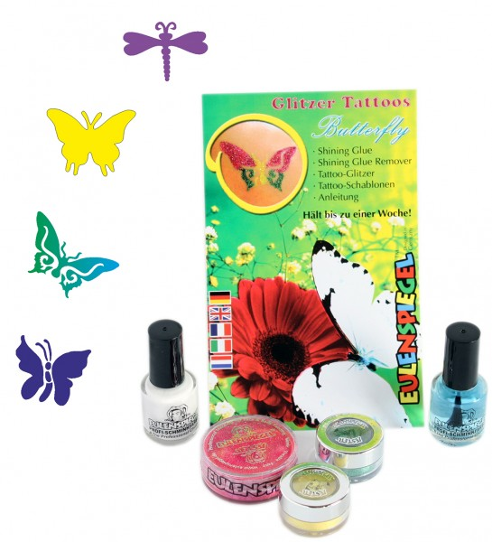 Glitzer Tattoo-Set Butterfly
