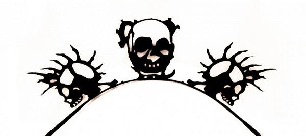 Papier-Wimpern, Skull - schwarz
